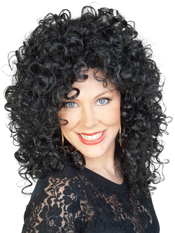 Black Curly Cher Wig Party Shop Birthday Balloons