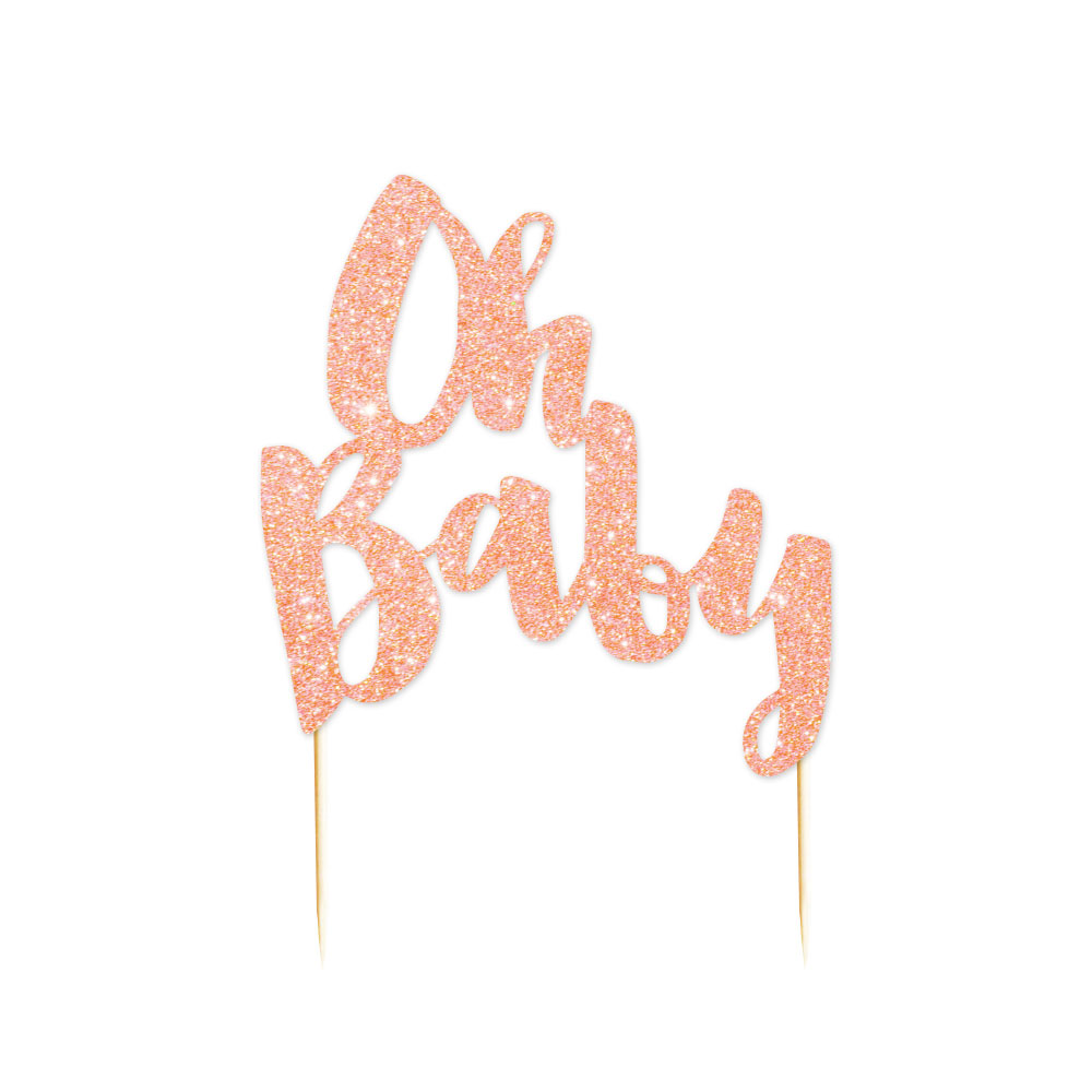 Rose Gold Glitter Cake Topper Oh Baby Party Shop