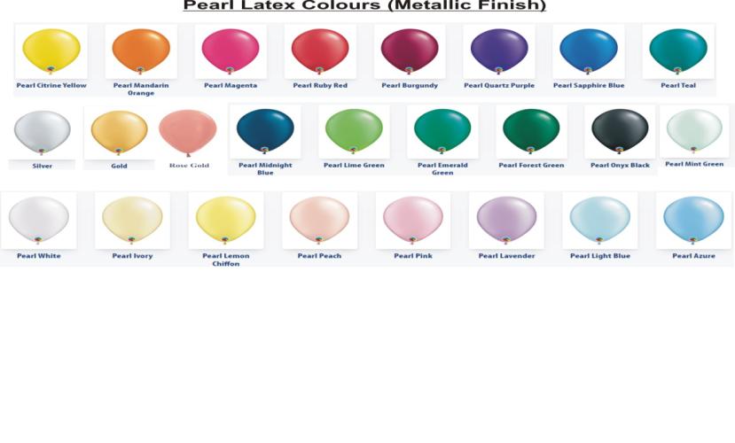 Pearl Latex Balloon Colour Chart Party Shop Birthday Balloons