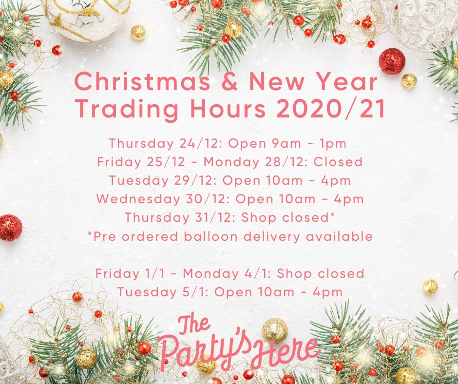 Christmas & NYE Trading Hours